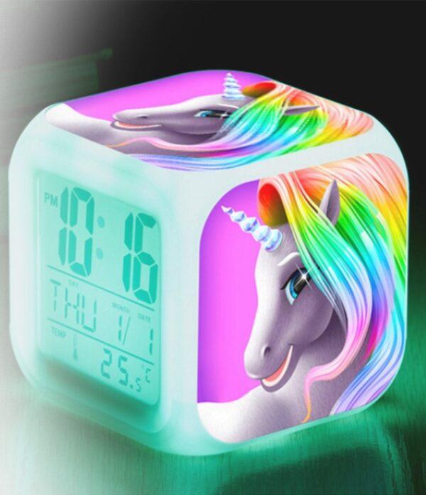 LED-klocka med enhörningsmotiv